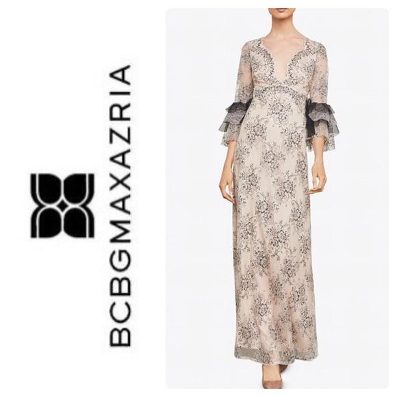 842fa8d1a61 New BCBG Cascading Lace Floral Maxi Dress. Boutique. BCBGMaxAzria